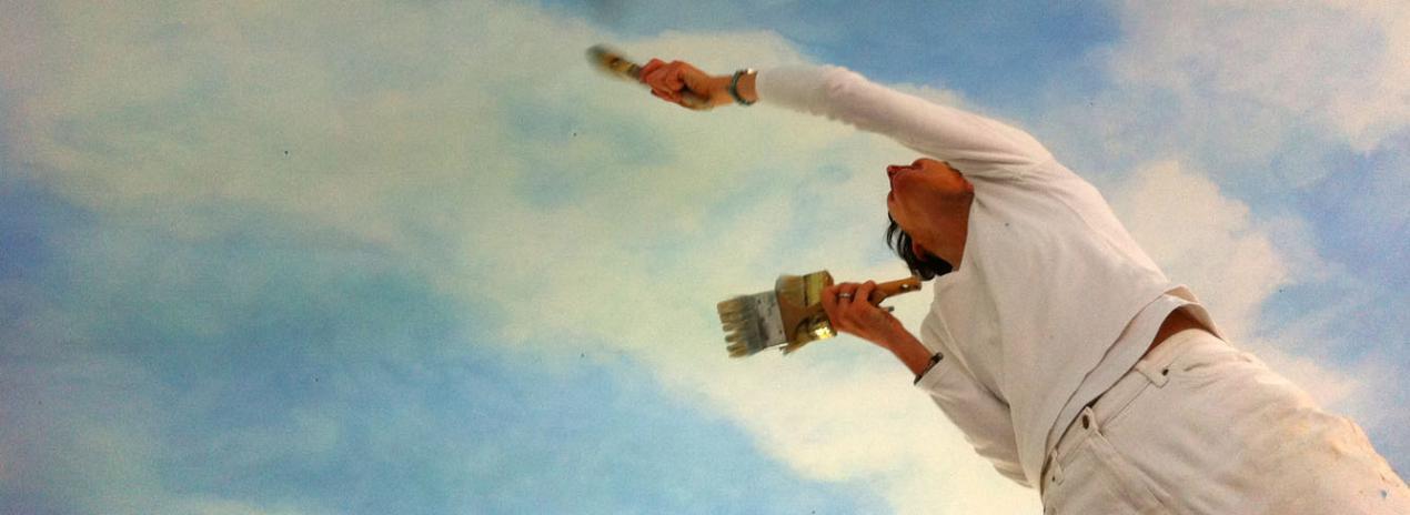 malen Himmel, Illusionsmalerei, Lasurtechnik